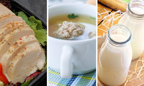 В ежедневном меню должны присутствовать: диетическое мясо, кисломолочная продукция, яйца, супы на овощном бульоне, гречневая, рисовая, перловая и другие каши